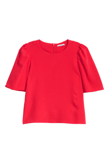 Puff-sleeved blouse - Bright red - Ladies | H&M CN
