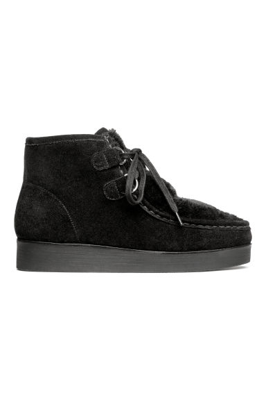 Suede boots with faux fur - Black -  | H&M