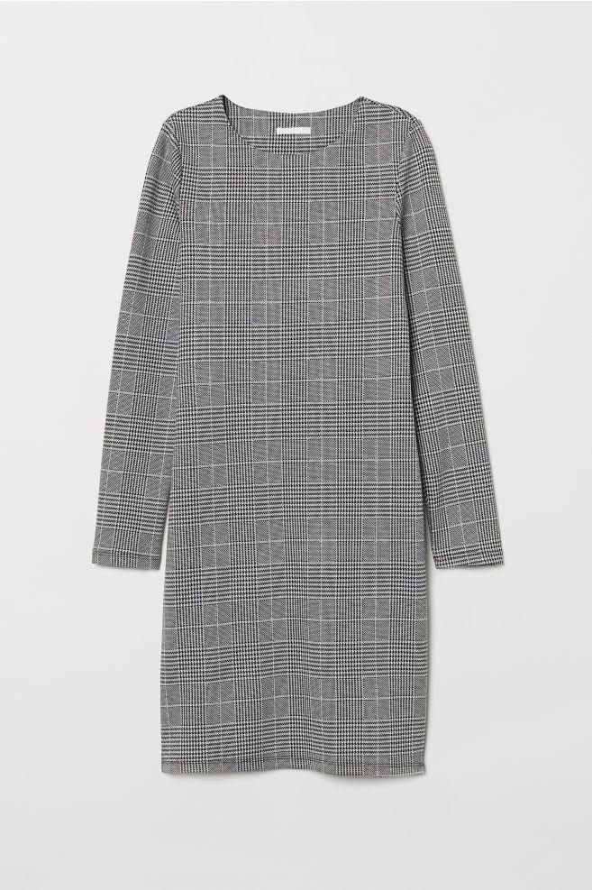 3f714d0c12 Dżersejowa sukienka - Czarny Biała krata - ONA