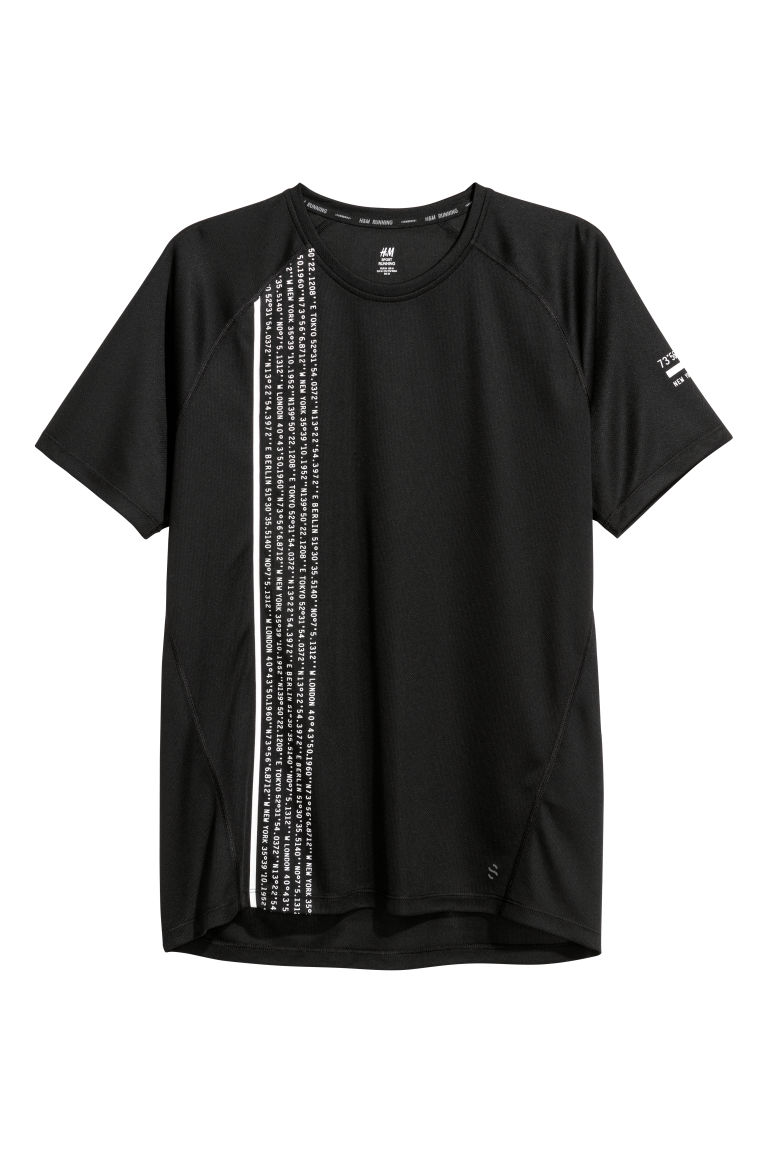 Short-sleeved running top - Black/Coordinates - Men | H&M