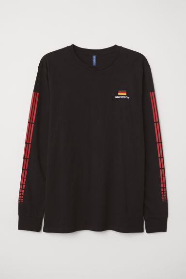 Long-sleeved top - Black/Germany - Men | H&M CN