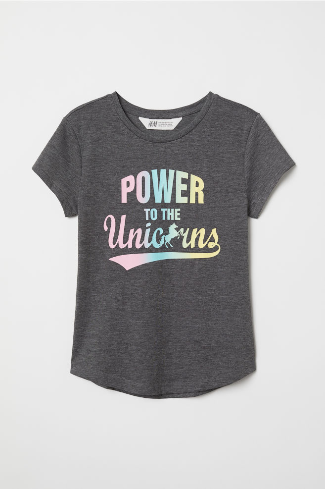 7593432ca ... T-shirt with Printed Design - Light gray melange/unicorn - Kids | H&M
