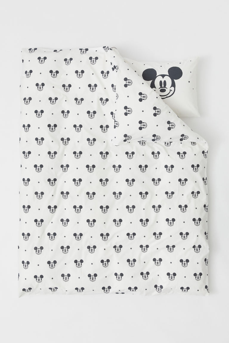 Patterned duvet cover set - White/Mickey Mouse - Home All | H&M CN