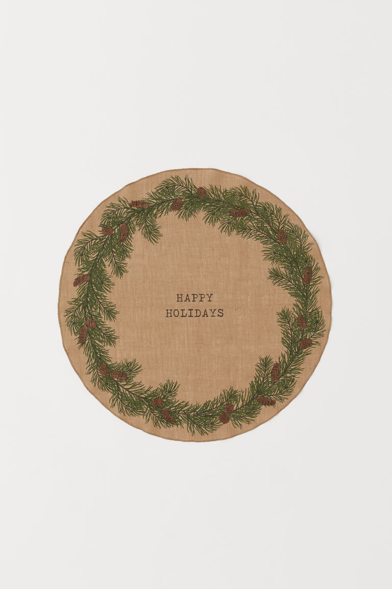 Christmas Tree Mat - Beige/Happy Holidays - Home All | H&M US