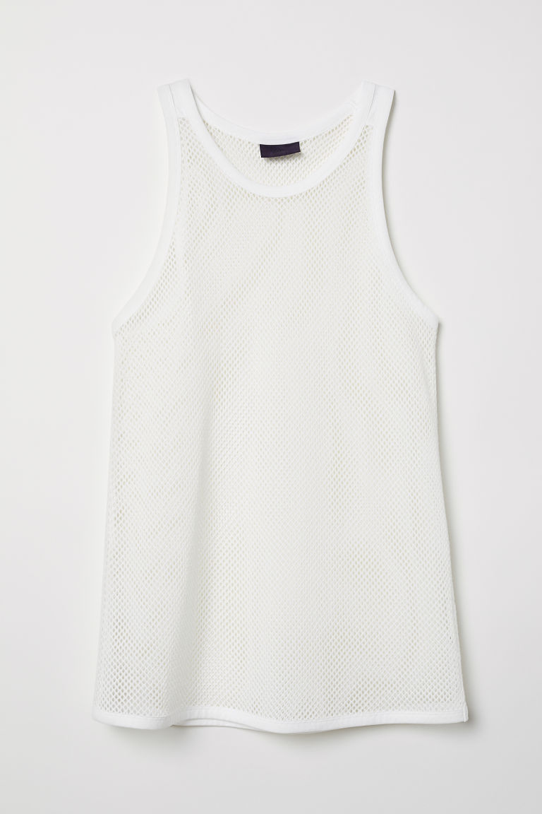 Tanktop van katoenmesh - Wit - HEREN | H&M BE