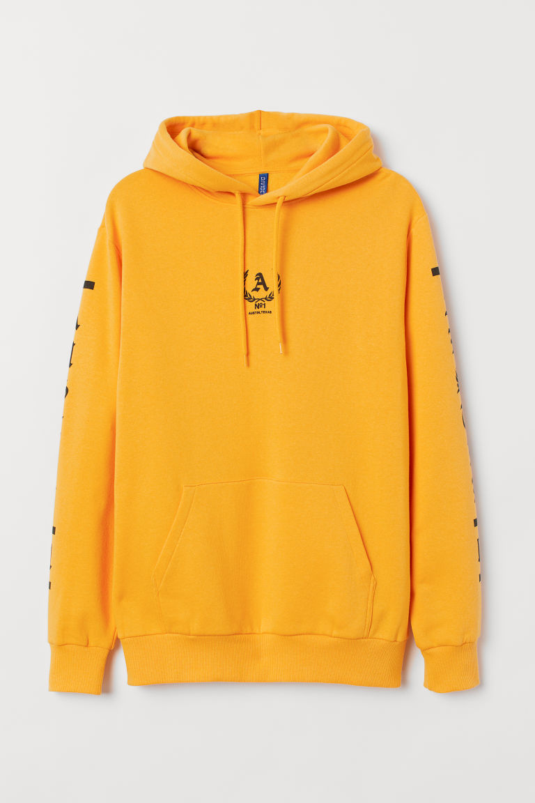 Hooded top with a motif - Yellow/Austin - Men | H&M