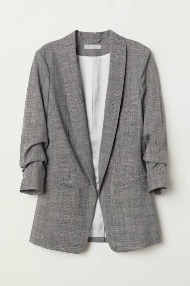 Shawl lapel jacket - Grey/Checked - Ladies | H&M