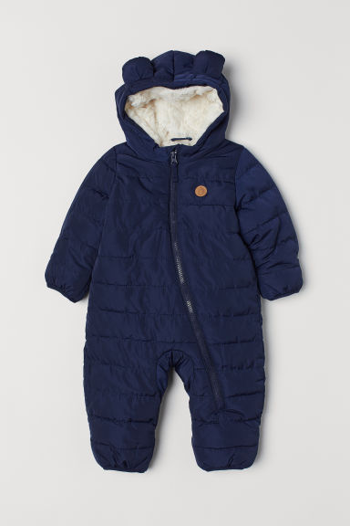Pile-lined all-in-one suit - Dark blue - Kids | H&M CN
