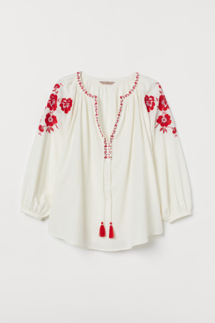H&M+ Embroidered Cotton BlouseModel