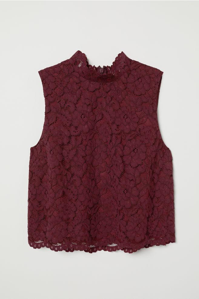 4562208daca23 Lace Top - Burgundy - Ladies
