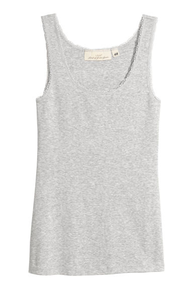 Vest top with lace trims - Light grey marl - Ladies | H&M CN
