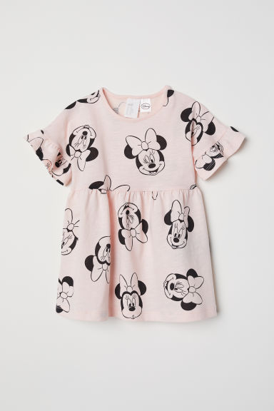 Flounced jersey dress - Light pink/Minnie Mouse -  | H&M CN