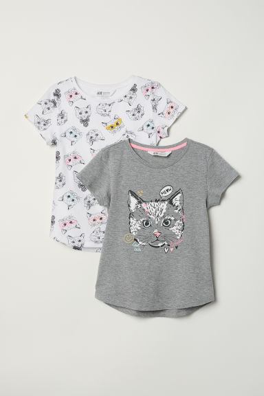 2-pack printed T-shirts - Grey marl/Cat - Kids | H&M