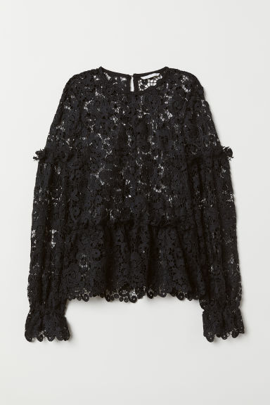 Embroidered lace blouse - Black - Ladies | H&M