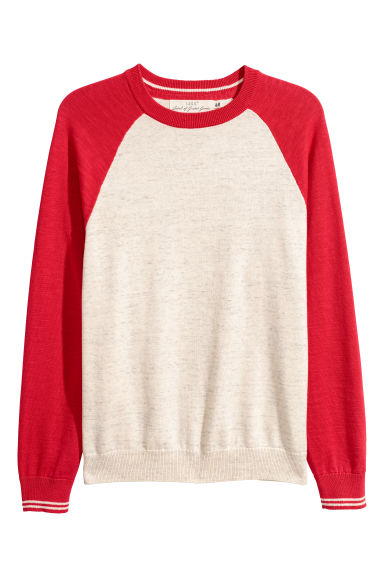 Fine-knit cotton jumper - Red/White marl -  | H&M