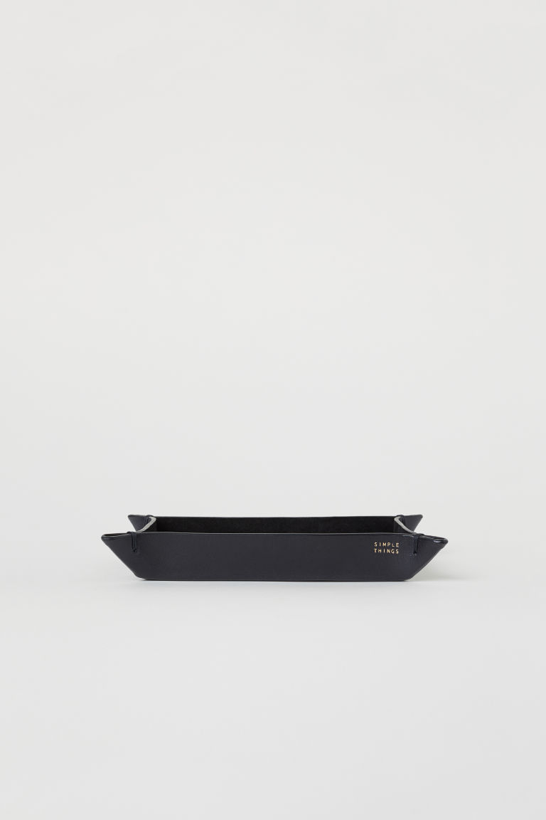 Rectangular leather tray - Black - Home All | H&M CN