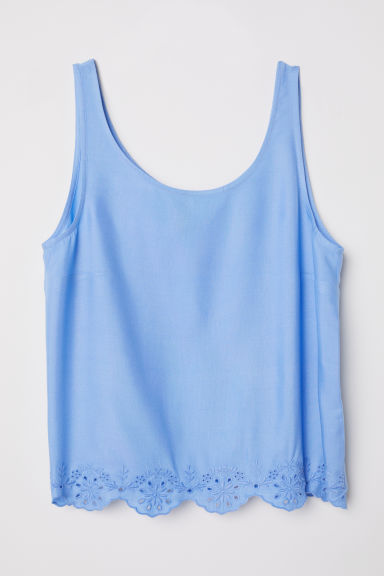 Top with broderie anglaise - Light blue -  | H&M CN