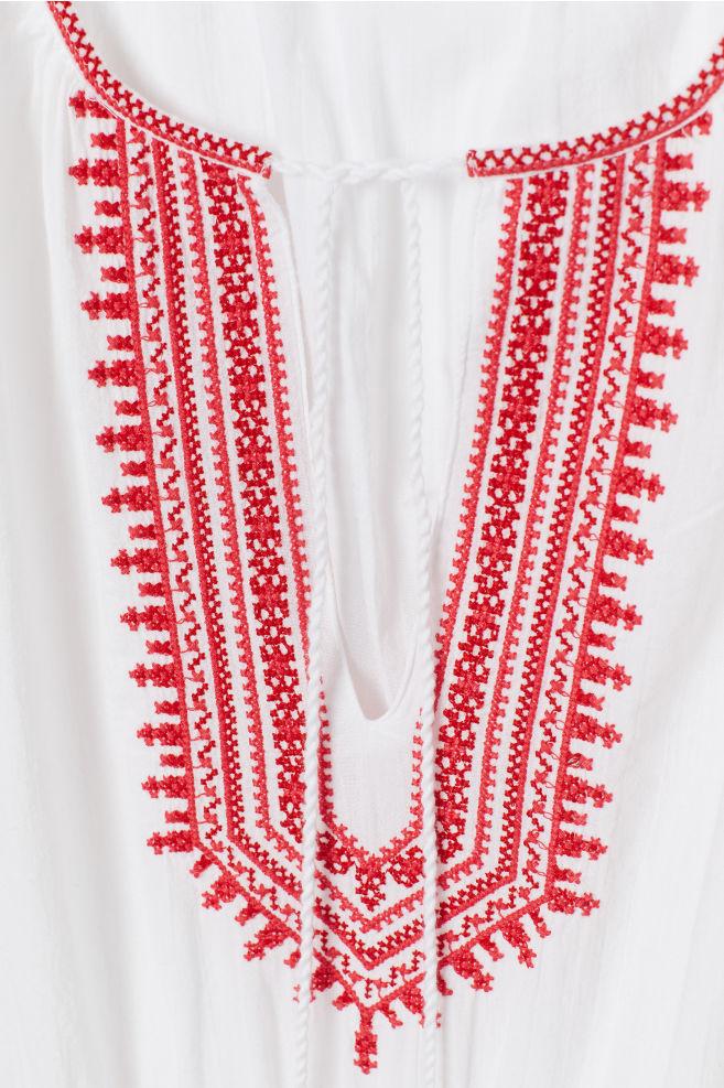 7681b8b70cdb2d ... Katoenen jurk met borduursel - Wit rood - DAMES