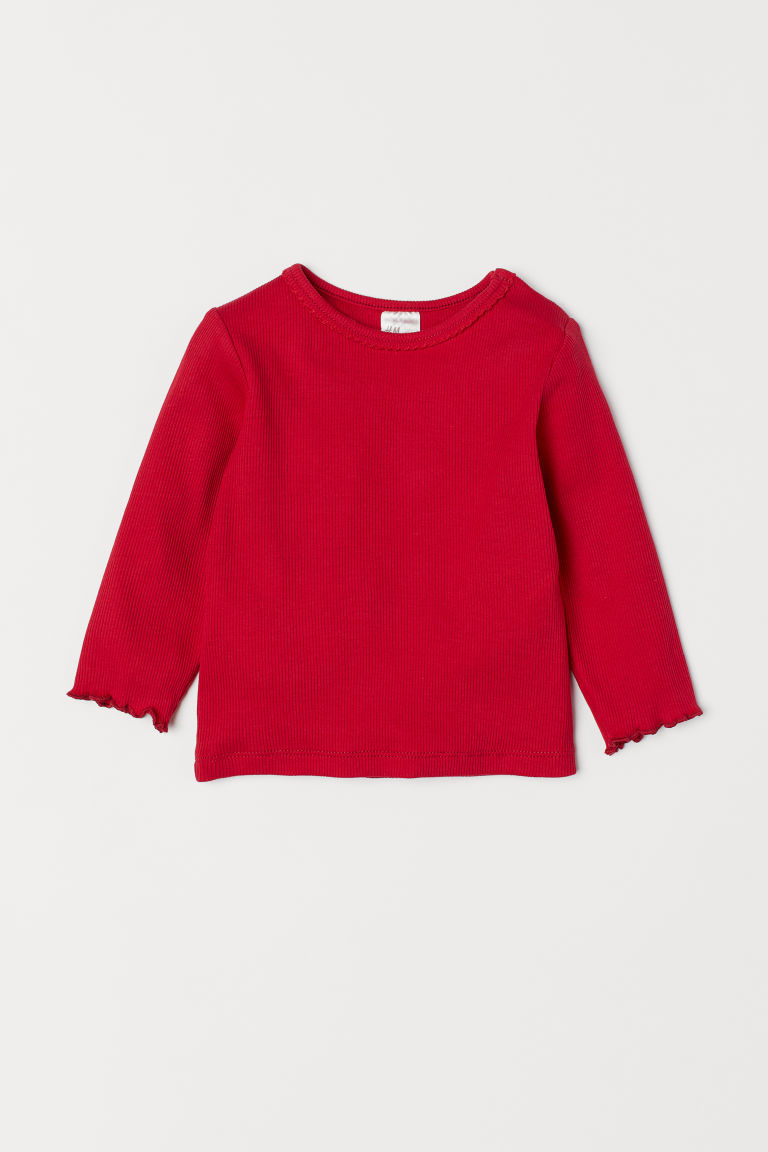 Ribbed jersey top - Red - Kids | H&M CN