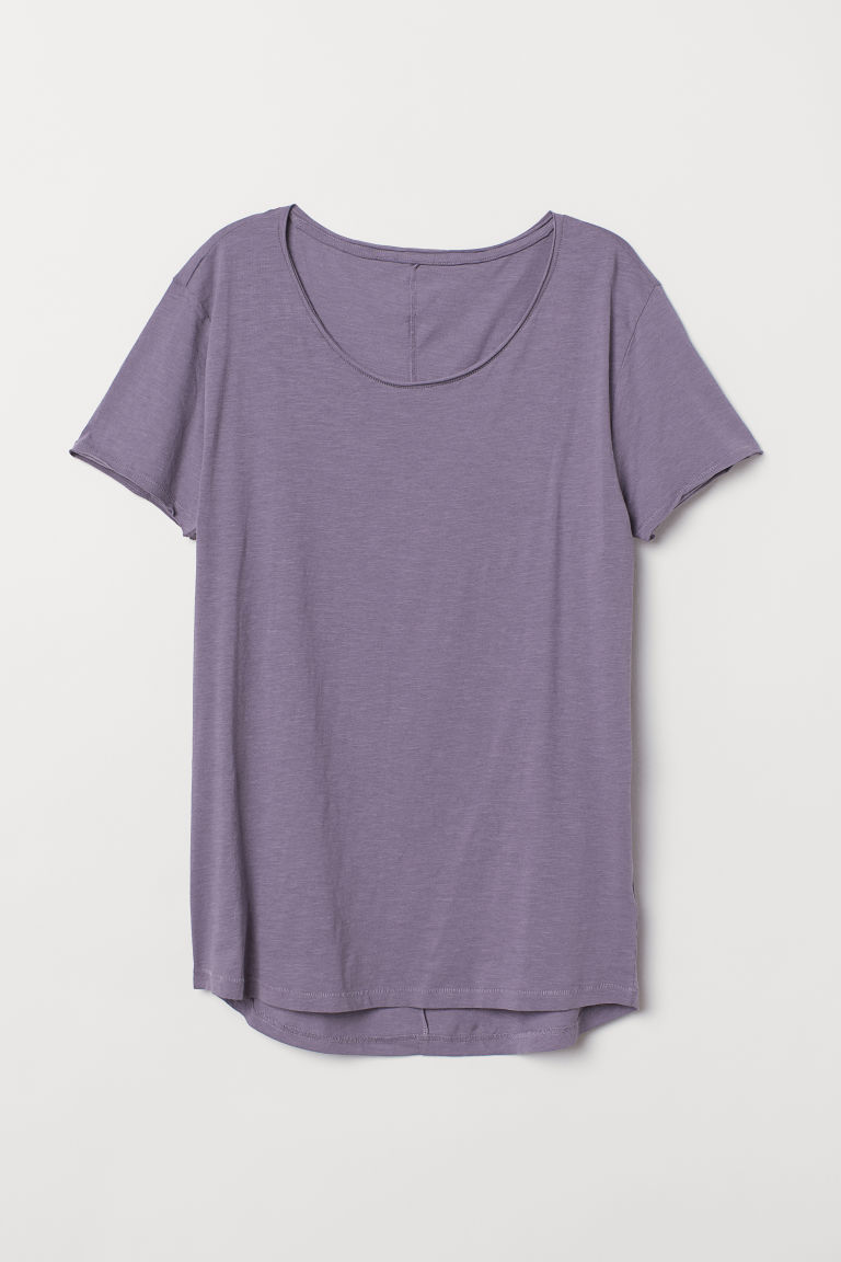 Raw-edge T-shirt - Purple - Men | H&M