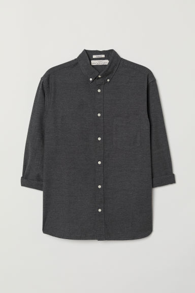 Oxford shirt Regular Fit - Black marl - Men | H&M IN