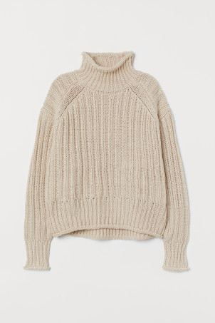 Rib-knit Turtleneck Sweater