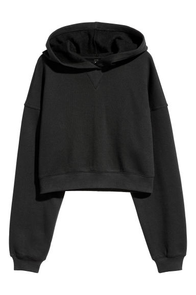 Cropped hooded top - Black -  | H&M
