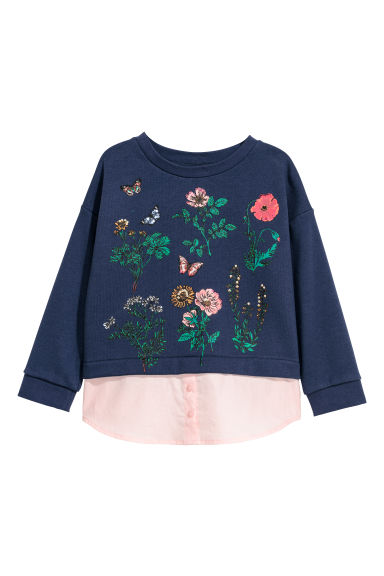 Sweater met laagjes - Donkerblauw -  | H&M BE