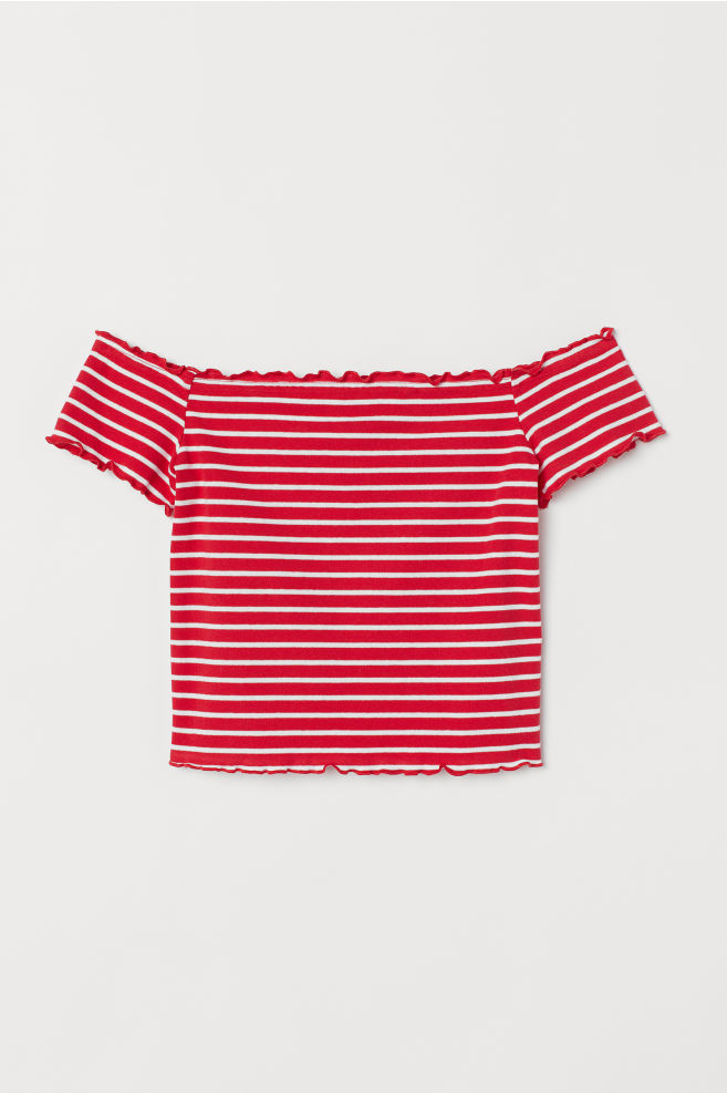 cb5bc33855407 ... Short Off-the-shoulder Top - Red white striped - Ladies