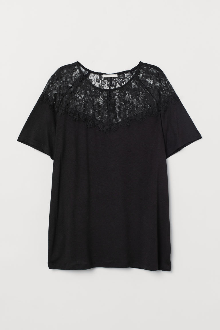Top in jersey e carré in pizzo - Nero - DONNA | H&M IT