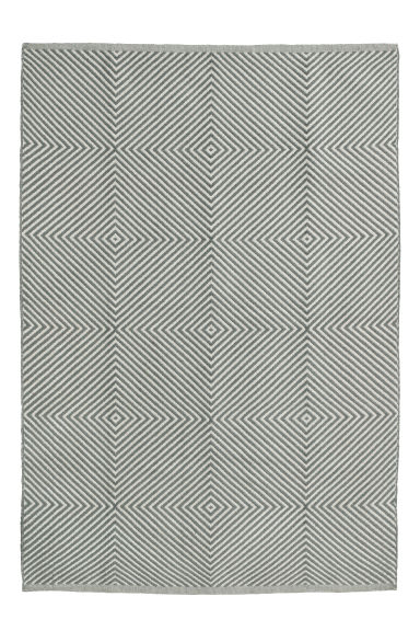 Jacquard-weave cotton rug - Light grey/Patterned -  | H&M CN