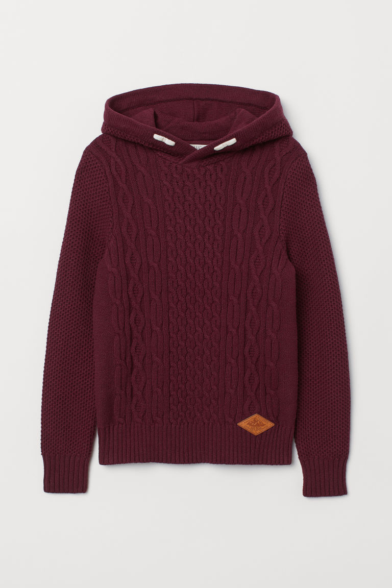 Knitted hooded jumper - Dark red - Kids | H&M CN