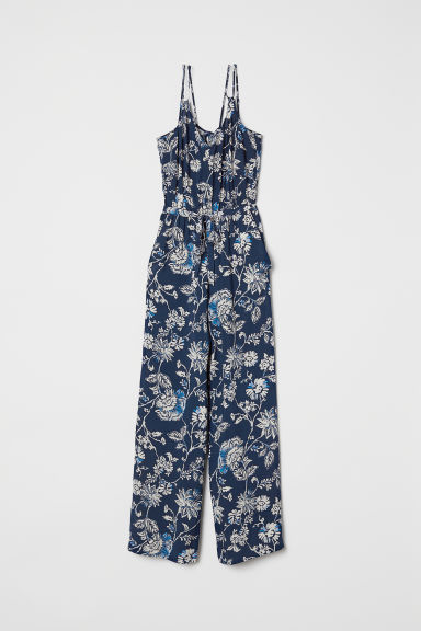 V-neck jumpsuit - Dark blue/Patterned - Ladies | H&M CN