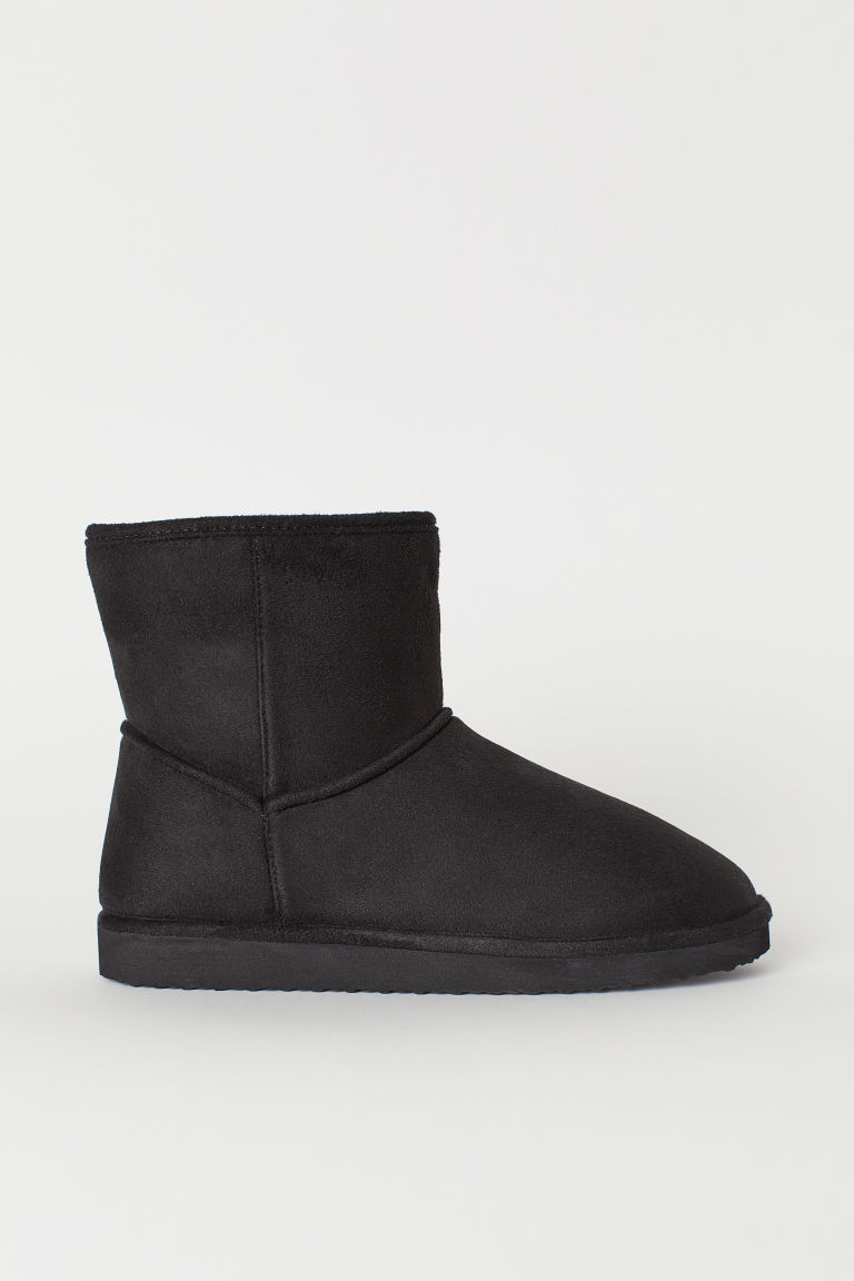 Imitation suede boots - Black - Ladies | H&M CN