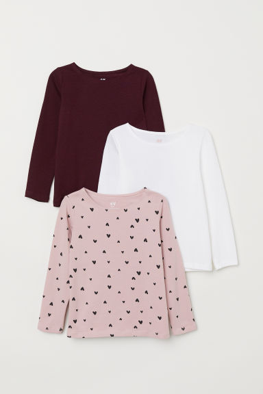 3-pack long-sleeved tops - Powder pink/Hearts - Kids | H&M IN