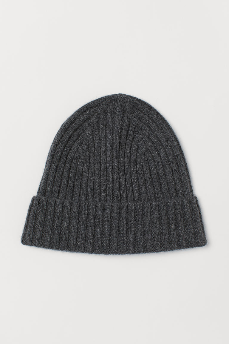 Ribbed cashmere hat - Dark grey - Men | H&M CN