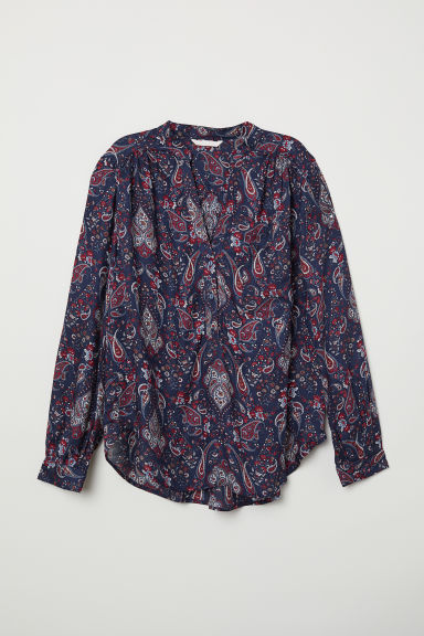 V-neck blouse - Dark blue/Paisley-patterned - Ladies | H&M