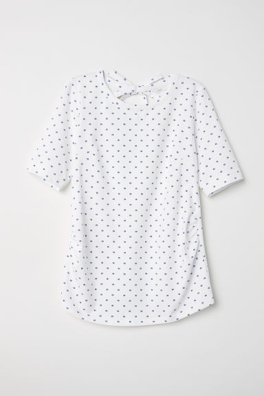 MAMA Short-sleeved top - White/Blue spotted - Ladies | H&M
