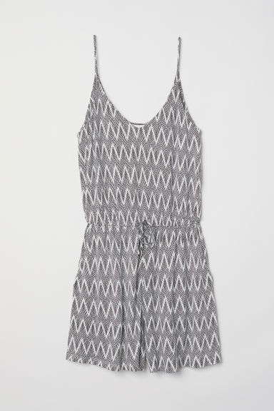 V-neck playsuit - Natural white/Patterned - Ladies | H&M