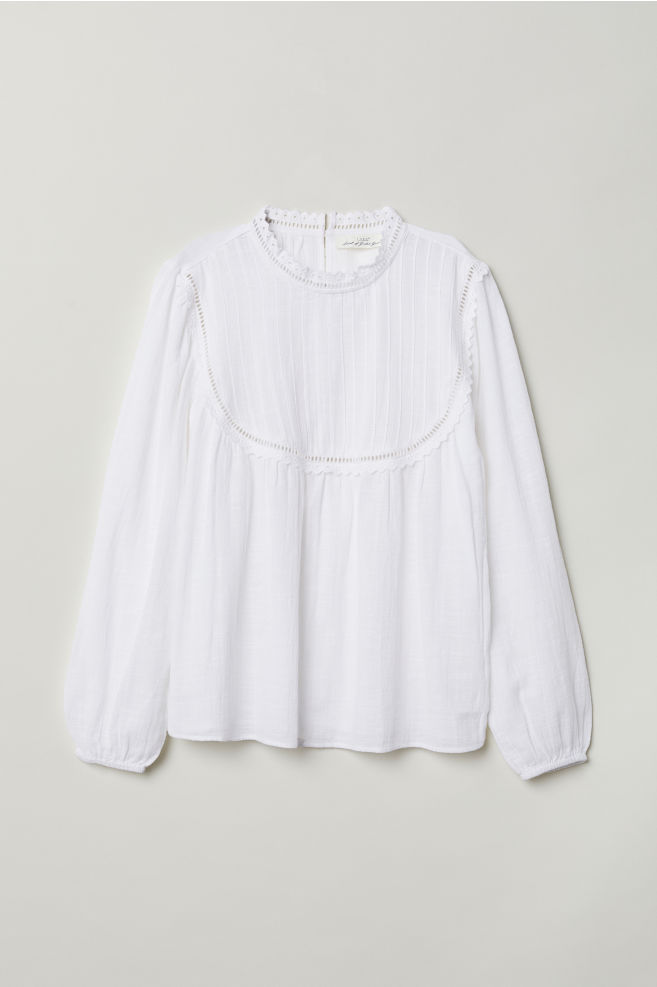 1da4a2a006388 Stand-up Collar Cotton Blouse - White - Ladies
