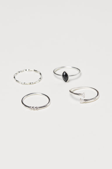 4-pack rings - Silver-coloured - Ladies | H&M