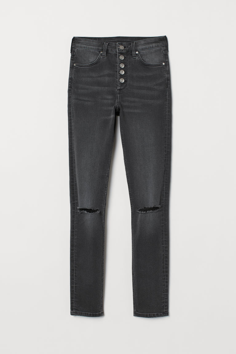 Skinny High Jeans - Black washed out -  | H&M CN