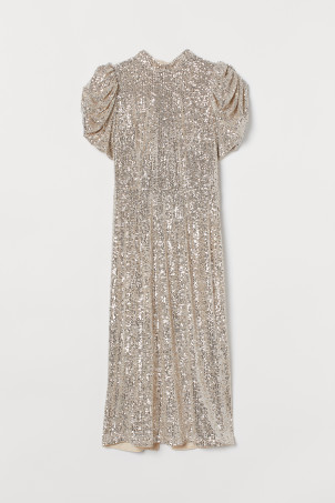 Puff-sleeved sequined dress