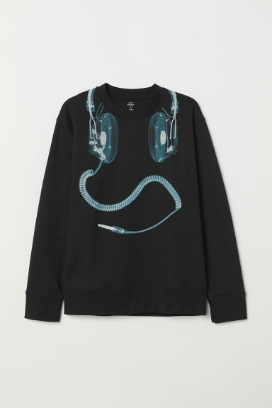 Printed sweatshirt - Black/Headphones - Men | H&M