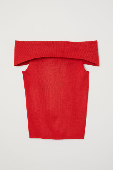 Ribbed off-the-shoulder top - Bright red - Ladies | H&M CN