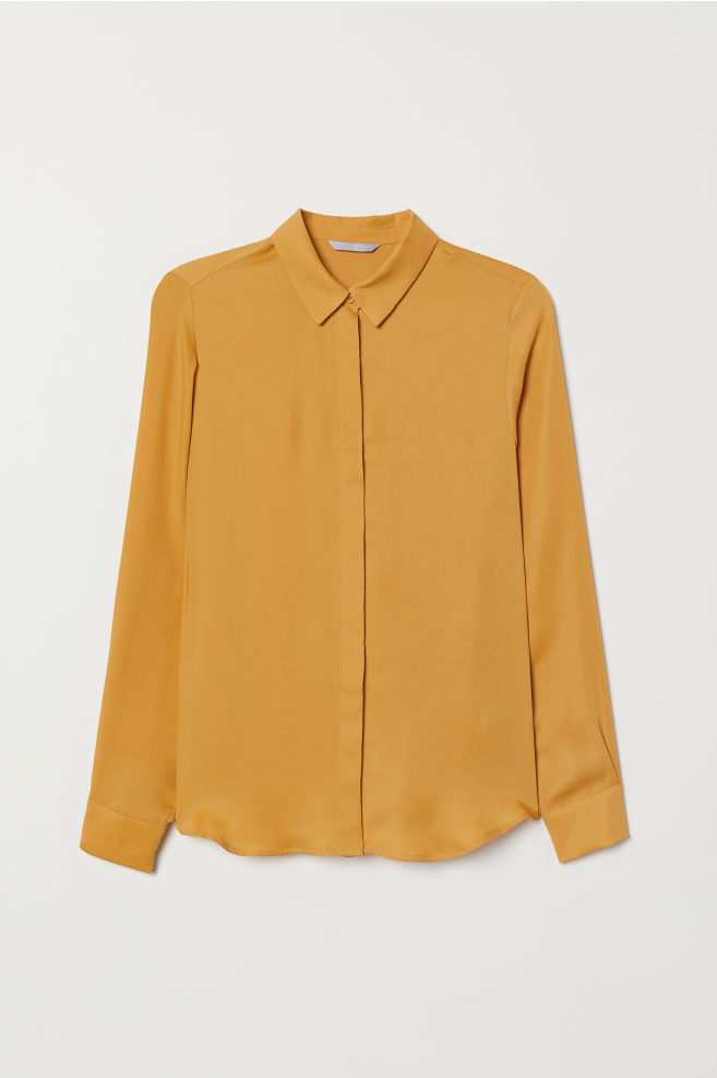 9e49d7016d777 Long-sleeved Blouse - Mustard yellow - Ladies