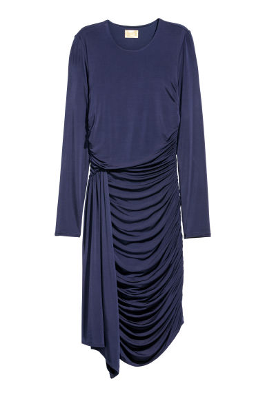 Draped dress - Dark blue -  | H&M