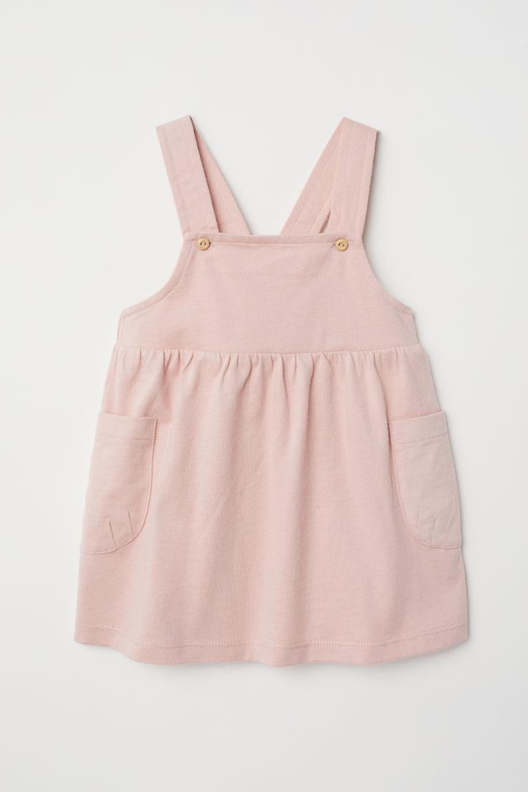 Cotton dungaree dress - Powder pink - Kids | H&M CN