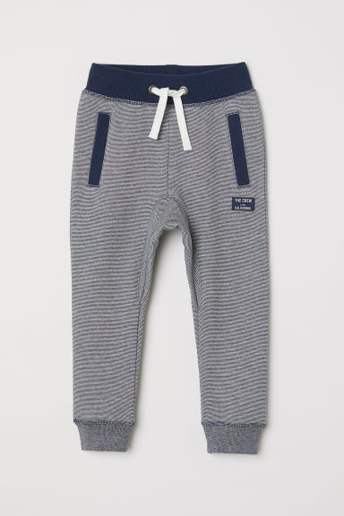 Joggers - Dark blue/Narrow striped -  | H&M CN