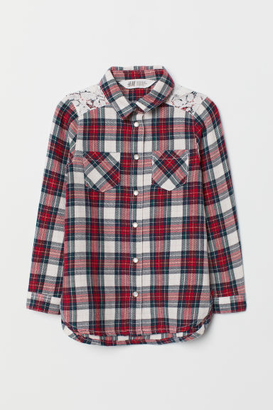 Flannel shirt with a lace yoke - White/Red checked - Kids | H&M